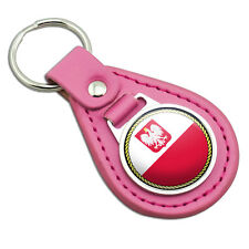 Flag of Poland with Coat of Arms Pink Leather Metal Keychain Key Ring