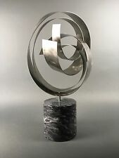 Vintage C. Jere Abstract Modern Contemporary Kinetic Ribbon Steel Sculpture