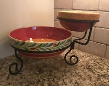 SLAH Gail Pittman Siena Southern Living At Home Chip & Dip Bowls with Stand