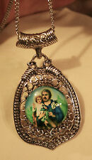 Lovely Swirl Textured Pointed St. Joseph & Jesus Medal Silvertn Pendant Necklace