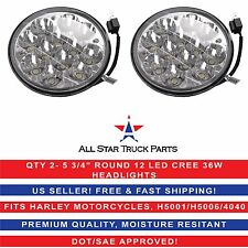 "Pair 5 3/4"" HID Round CREE LED Spot Headlight Work Lamp Offroad Truck Fit Harley"
