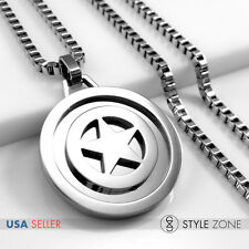 Stainless Steel Captain America Shield Pendant with Box Link Necklace Silver 14R