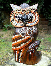 Handmade Carved Wooden Lovely Owl Brown Coloured Figure 27 cm  Home Decor