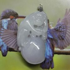 Certified Natural A Gorgeous Lavender Jadeite Jade Carved Peach Monkey Pendent