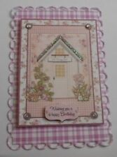 PK 2 LILAC FLORAL HOUSE BIRTHDAY EMBELLISHMENT TOPPERS FOR CARDS AND CRAFTS