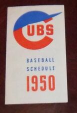 Chicago Cubs Baseball schedule  1950 MBL