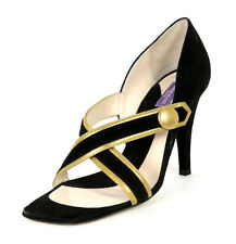EMILIO PUCCI Black Suede & Gold Leather Criss-Cross Heels Sandals 38 NEW