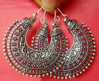 Ethnic Silver Tone Oxidized South Indian Pearl Earrings Jhumka Jhumki Jewelry