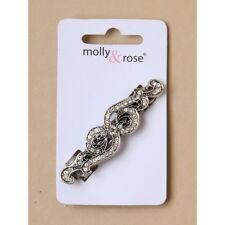 Nouveau 6.5cm argent vintage cristal swirl design barrette pince à cheveux mariage fashion