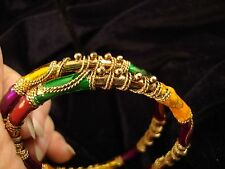 2 Gold Tone Bangles w Red,Green,Violet & Gold Enamel & Twisted Wire Designs (325