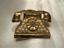 FUNKY COOL Textured Gold PEARL & Rhinestone Accented TELEPHONE Brooch 14BR030