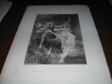 1888 Gravure Art Print - SATYR and NYMPHS Nude Girls by BOUGUEREAU Faun FANTASY
