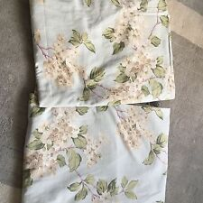 John Lewis Curtains Fabric Eau De Nil Mint Blue Green Flowers 220cm Length 150cm