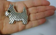 Vintage Signed Mexico Sterling Silver 925 Onyx Scottish Terrier Dog Pin Brooch