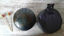 HANDPAN tambour Drum steel Hank tongue handmade w 22sm 9 tonès + sticks Bag