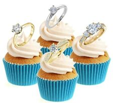 Diamond Ring Engagement Collection 12 Edible Stand Up wafer paper cake toppers