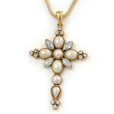 Simulated Pearl and CZ 'Fleur de Lis' Statement Cross Pendant and Chain (Gold To