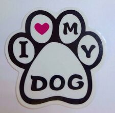 I LOVE MY DOG CUTE PET CLAW Transparent Sticker Decal Vinyl Car Guitar Suitcase