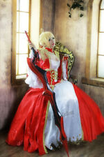 Fate zero Fate Stay Night Saber Nero Cosplay Costume Luxury Version Red Dress