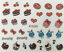 Nail Art 3D Decal Stickers Sweets Doughnuts Sundays Cherries Cupcake Love E263