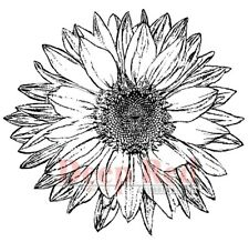 Deep Red Rubber Stamp Large Sunflower Flower