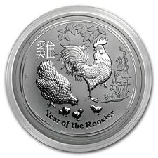 NEW ~ 2017 ~ 5~OZ PURE .9999 SILVER ~ YEAR of the ROOSTER ~ PERTH MINT ~ $133.88