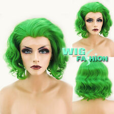 """11"""" Short Green Curly Lace Front Wig Heat Resistant"""
