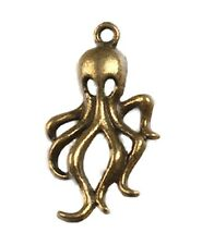 Octopus Charms Nautical Steampunk Pendants Bronze Brass Jewelry Lot of 8