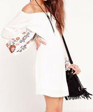 Ex Missguided embroidered sleeve shift dress white - UK 10