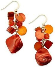 Style&co. Earrings, Gold-Tone Coral Shell Cluster Drop Earrings - 852
