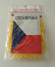 Czech Republic MINI BANNER FLAG with BRASS STAFF & SUCTION CUP