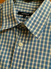 Mens JAEGER Long Sleeve Gingham Check  Shirt - Blue Size Large .