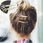 2Pcs Chic Scissors Shape Hair Clip Gold/Silver Hair Pin Women Hair Accessory New