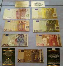 7 BANCONOTE EURO COLORATE IN FOGLIA D'ORO CON LINGOTTO PURO 24K GOLD CERTIFICATO