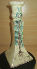 Beautiful Italian candle stick holder Hand Painted SAGE plant ceramic Made Italy