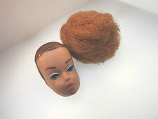 BARBIE DOLL HEAD 1958 MATELL INC. WIG HEAD #753 RED BUBBLE WIG NICE CONDITION