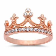 Rose Gold Plated Cubic Zirconia Crown .925 Sterling Silver Ring Sizes 4-12