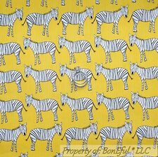 BonEful Fabric FQ Cotton Quilt Yellow Black White B&W Zebra Stripe Baby Girl Boy