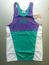 NIKE SIZE S RUNNING ATHLETIC TANK TOP NYLON LIGHTWEIGHT PURPLE GREEN WHITE RETRO