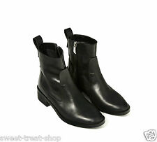 ZARA BLACK REAL LEATHER CHELSEA ANKLE BOOTS RARE  5 38  7.5