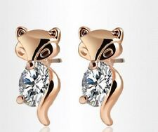 ROSE GOLD PLATED CZ FOX ANIMAL STUD EARRINGS