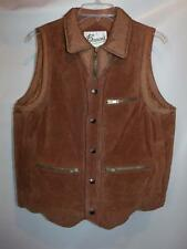 Mens Vintage BERMANS Brown LEATHER Insulated Puffer Zipper Front Vest 38 40