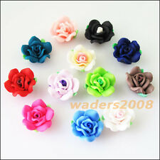 6 New Charms Handmade Polymer Fimo Clay Flower Spacer Beads Mixed 20mm