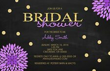 Gold Glitter Flower Chalkboard Bridal Wedding Shower Invitation Any Colors
