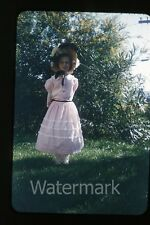 1950s red border Kodachrome Photo slide young girl in dress  old fashion costume