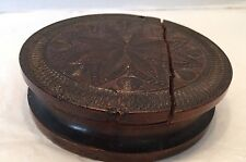 Antique Wood Lathe Snuff Box Decorated Walnut Lid Cracked For Repair