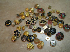 LOT 65 Fancy Sewing Buttons METAL RHINESTONE ENAMEL Estate Lot VINTAGE Crafts