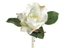 ARTIFICIAL SINGLE ROSE BOUTONNIERE (WHITE)