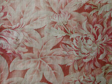 RSVD ~Antique French Raspberry Rose Botanical Mum Floral Cotton Toile Fabric