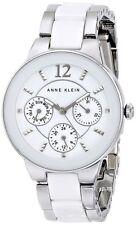 Anne Klein Women's Multi-Function Silver-Tone White Ceramic Watch AK/1629WTSV